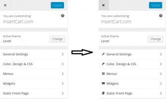 Icons in wordpress customizer