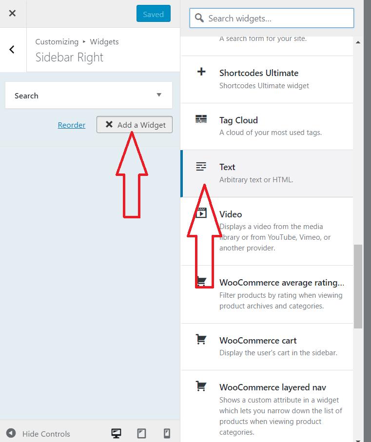 add text widget